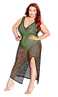 Plus Size V Mesh Maxi Dress - black