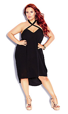 Plus Size X Front Dress - black