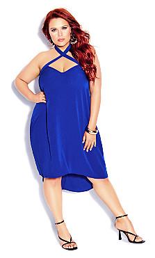 Plus Size X Front Dress - electric blue