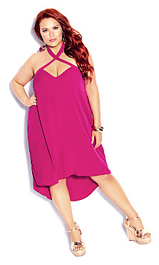 Plus Size X Front Dress - hot pink