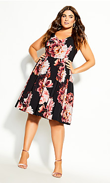 Plus Size Heavenly Floral Dress - black