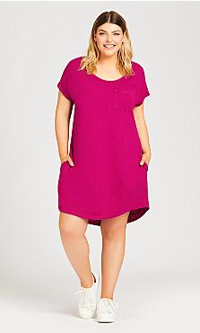 Plus Size Summer Day Dress - fuchsia