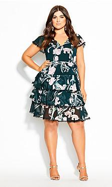 Plus Size Fresh Fields Dress - jade