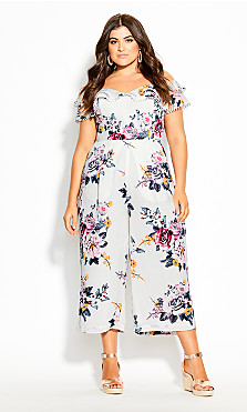 Plus Size Summer Love Jumpsuit - ivory