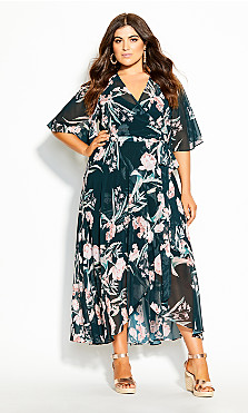 Plus Size Fresh Fields Maxi Dress - jade