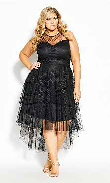 Plus Size Mesh Bardot Dress - black
