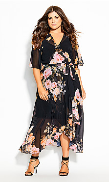 Plus Size Tuscan Wrap Maxi Dress - black