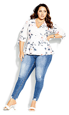 Plus Size Lotus Lust Top - ivory