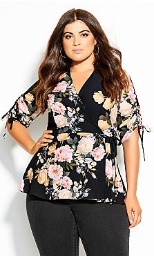 Plus Size Tuscan Rose Top - black