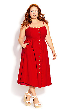 Plus Size Scallop Button Dress - red
