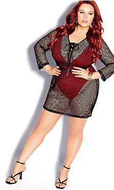 Plus Size Mesh Mini Dress - black