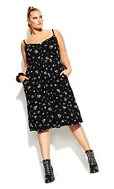Plus Size Ditsy Belle Dress - black
