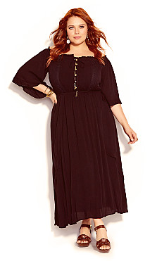Plus Size Lost Angel Maxi Dress - black