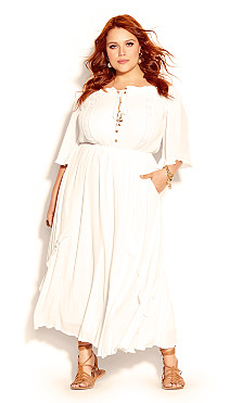 Plus Size Lost Angel Maxi Dress - ivory