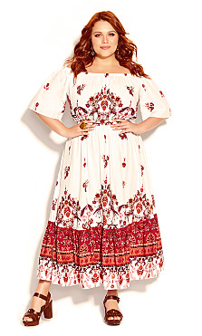 Plus Size Boho Angel Maxi Dress - ivory