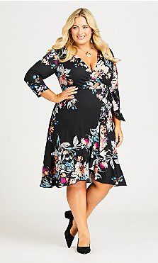 Plus Size Arrangement Wrap Dress - black