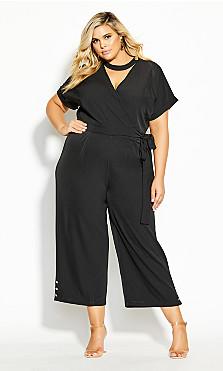Plus Size Sassy Button Jumpsuit - black
