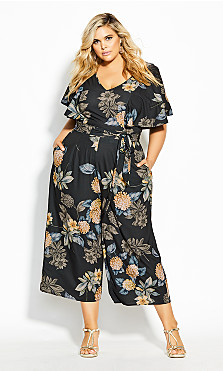 Plus Size Golden Floral Jumpsuit - black
