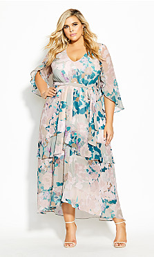 Plus Size Dreamy Nights Maxi Dress - straw