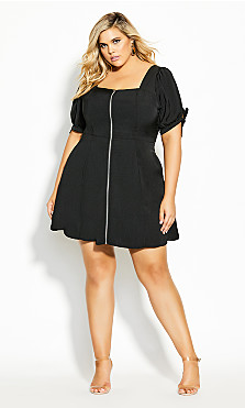 Plus Size Simply Zipper Dress - black
