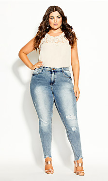 Plus Size Asha Escape Skinny Jean - denim