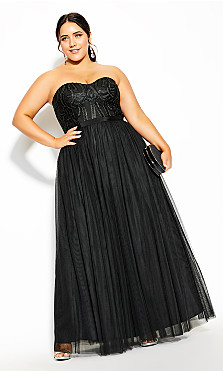 Plus Size Antonia Maxi Dress - black