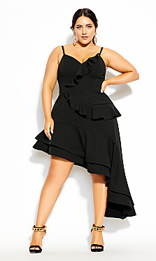 Plus Size Supreme Ruffle Dress - black
