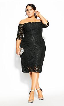 Plus Size Lace Love Dress - black