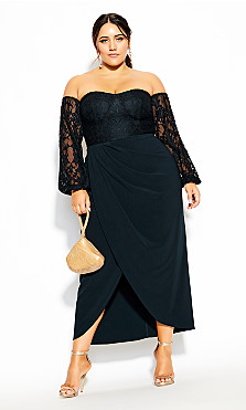 Plus Size Romantic Rosa Maxi Dress - navy