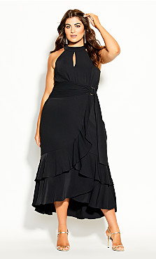 Plus Size Grand Halter Maxi Dress - black