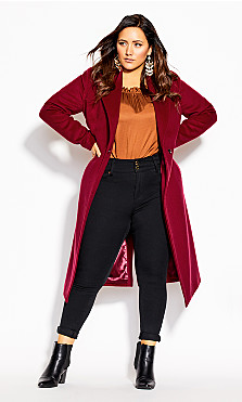 Plus Size Romantic Luxe Coat - cerise