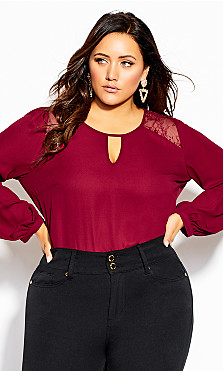 Plus Size Spanish Romance Top - sangria