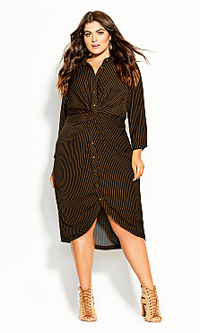 Plus Size Twisted Stripe Dress - copper