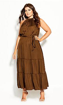 Plus Size Halter Lady Maxi Dress - copper