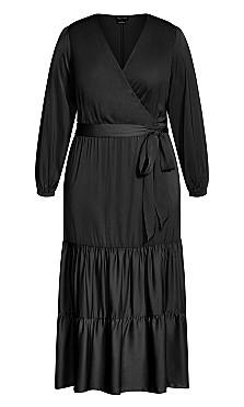 Plus Size Pretty Tier Maxi Dress - black