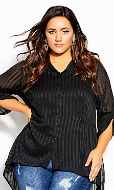 Plus Size Elegant Stripe Shirt - black