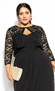 Plus Size Scallop Lace Jacket - black