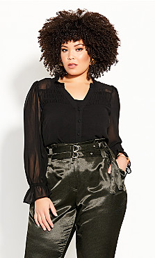 Plus Size Autumn Escape Top - black