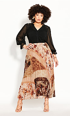 Plus Size Paisley Puzzle Skirt - ochre