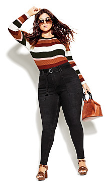 Plus Size Hi Waist Skinny Jean - black