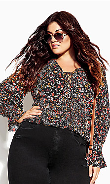 Plus Size 70's Ditsy Top - black