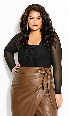Plus Size Ruched Detail Bodysuit - black