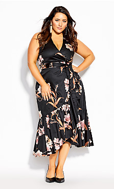 Plus Size Floating Lily Dress - black