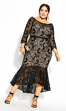 Plus Size Estella Maxi Dress - black