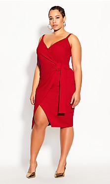 Plus Size Belted Detail Dress - crimson