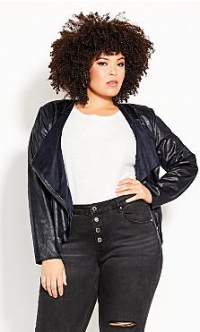 Plus Size Sleek Waterfall Jacket - slate