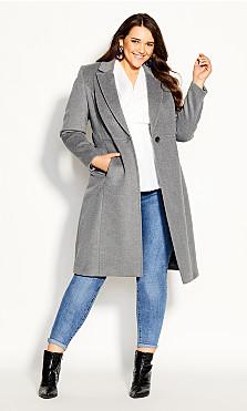 Plus Size Belissima Wool Blend Coat - charcoal
