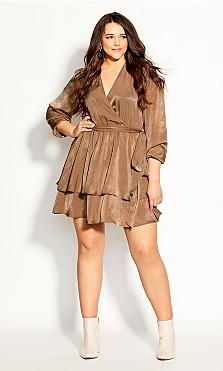 Plus Size Twisted Ruffle Dress - bronze