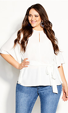 Plus Size Knot Me Up Top - ivory