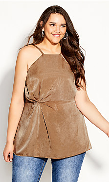 Plus Size Origami Top - bronze